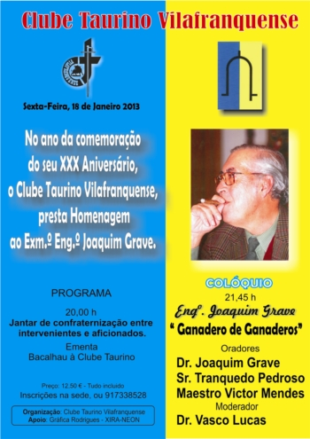 Clube Taurino Vilafranquense presta homenagem ao Eng. Joaquim Grave