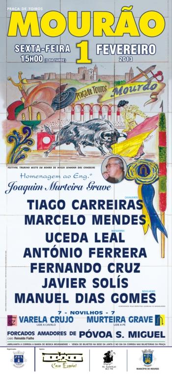 Cartaz do Festival Taurino de Mourão, 1 de Fevereiro