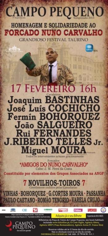 Cartaz do Festival de Homenagem e Solidariedade ao forcado Nuno Carvalho
