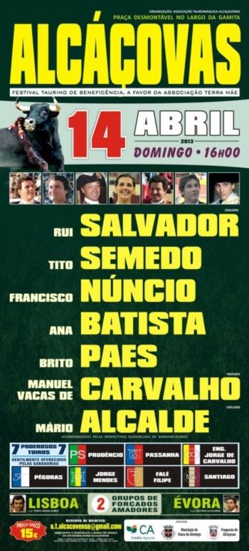 Festival em Alcáçovas a 14 de Abril