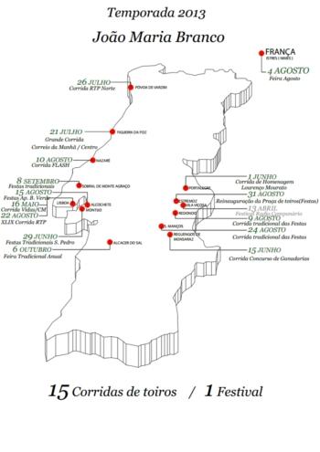 Mapa de Actuações de João Maria Branco