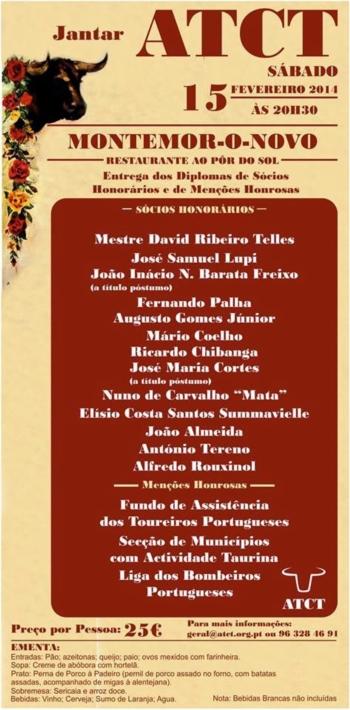 Jantar de Nomeação de Sócios Honorários e Atribuição de Menções Honrosas 2014 da ATCT
