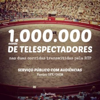 Corridas transmitidas pela RTP com uma média acumulada de 1 Milhão de telespectadores
