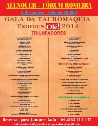 Cartaz da Gala da Tauromaquia-Troféus Olé 2014