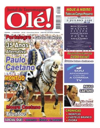 Capa do jornal Ole nº 357 - Amanhã nas bancas!