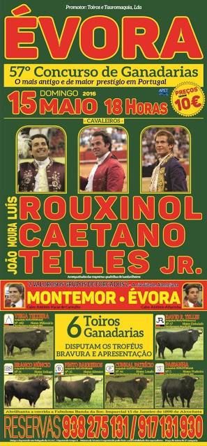 O cartaz para Évora dia 15 de maio