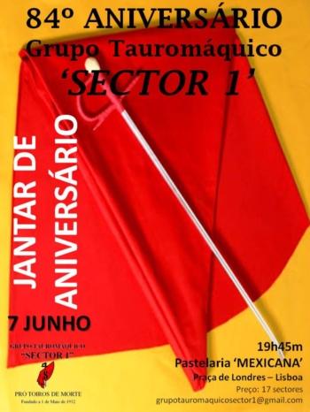 Jantar do 84º Aniversário do Grupo Tauromáquico 'Sector 1'