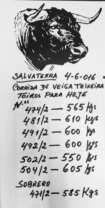 Peso dos Veiga Teixeira para hoje em Salvaterra